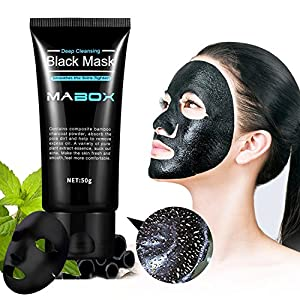 Mabox Blackhead Remover Mask ,Blackhead Cleansing Mask Cleaner Face Mask/Deep Clean Blackhead/Farewell Strawberry Nose/Blackhead Killer Facial Masks Black 50ml