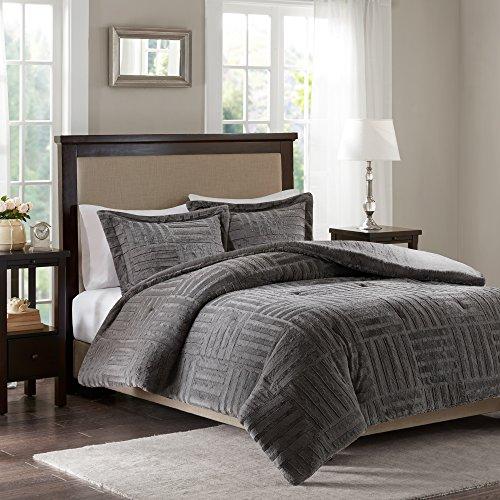 Arctic Fur Down Alternative Comforter Mini Set Grey King/Cal King -  Madison Park, BASI10-0409