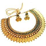 YouBella Jewellery Green Emerald Temple coin Traditional Necklace set for women party wear Jewellery set with Earrings for Women