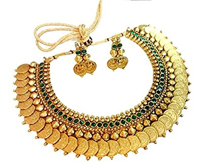 Buy Youbella Green Emerald Gold Plated Necklace Set With Earrings