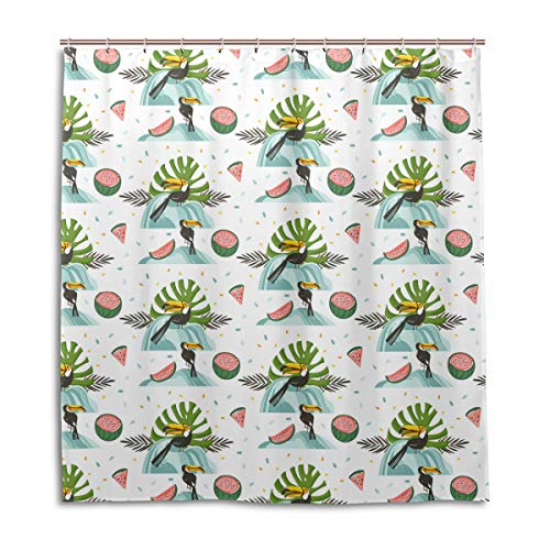 Amanda Billy Green Banana Leaf Outfit Natural Home Shower Curtain, Beaded Ring, Shower Curtain 72 x 72 Inches, Modern Decorative Waterproof Bathroom Curtains