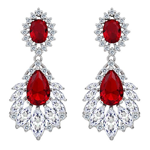 BriLove Women's Wedding Bridal Dangle Earrings with Cubic Zirconia Peacock Feather Shaped Chandelier Ruby Color Silver-Tone
