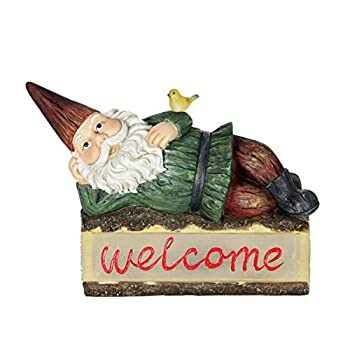 "Exhart Solar Gnome Welcome Sign Garden Statue – Light Up Gnome Statue on Welcome Sign Log w/Resin Décor, Whimsical, Durable & Solar Powered- Perfect for Porch & Garden 16.14"" L x 6.5"" W x 14.17"" H"