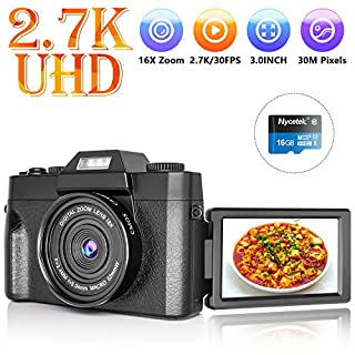 Digital Camera Vlogging Camera with 3.0inch Flip Screen, 2.7K HD Video Camera with Flashlight, 16X Powerful Zoom, Suitable for Wedding, Trip, Vlogging, Recording Life