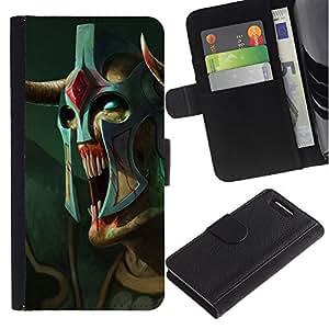 Be-Star la tarjeta de Crédito Slots PU Funda de cuero Monedero caso cubierta de piel Sony Xperia Z3 Compact ( Monster Alien Warrior Art Mask Blue Eyes )