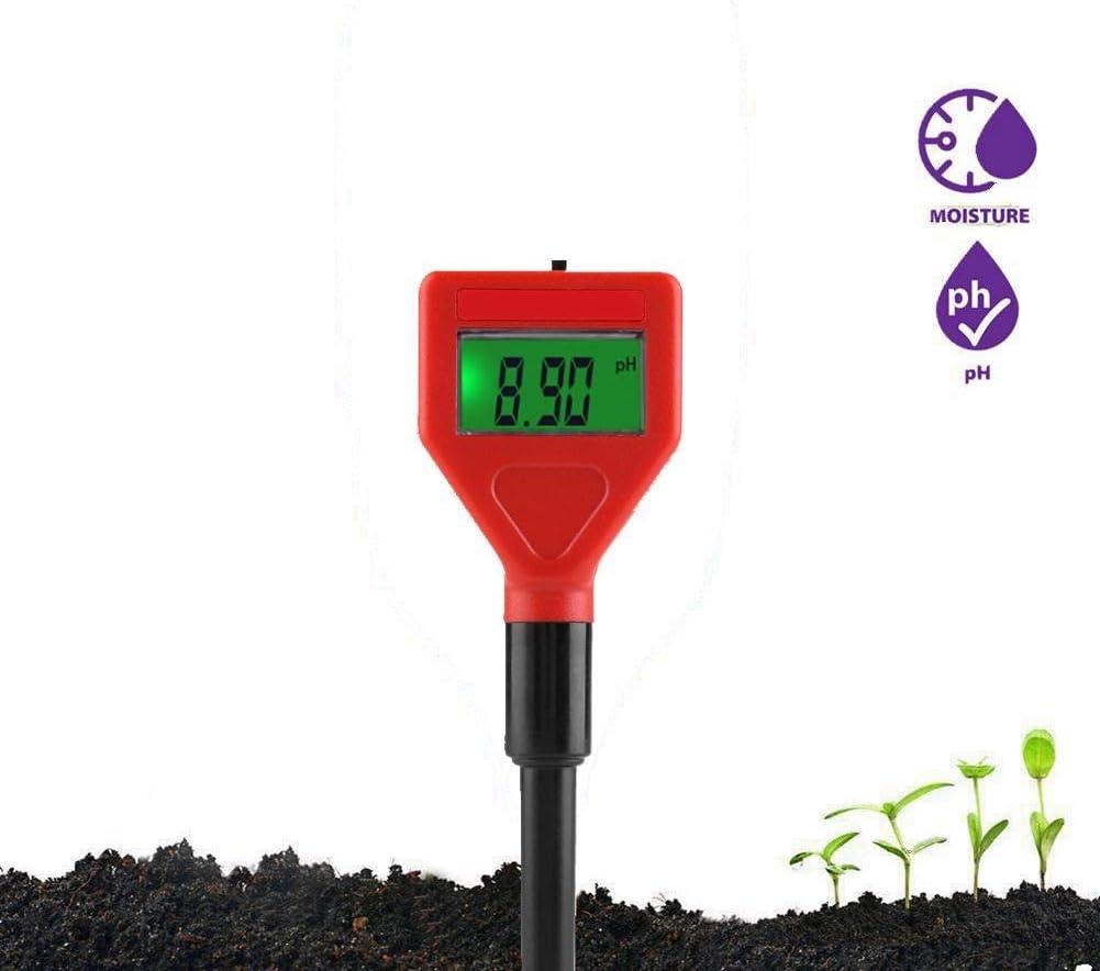 Kit de prueba de pH del suelo Kit de probador de suelo de plantas 2 en 1 con medidor de pH y acidez de la humedad, ideal para árboles bonsai, cuidado del jardín, granja, césped, interiores y exteriore