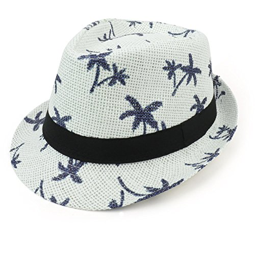 (Armycrew Cute Palm Tree Paradise Print Summer Paper Straw Fedora Hat - White)