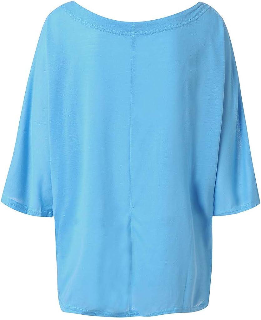 Longra Magliette Estive Vintage Bluse con Scollo A V Taglie Forti T-Shirt da Donna Estate Maglietta Manica Lunga//Manica Corta off Shoulder Top Casual Oversized Beach Cover Up Tuniche