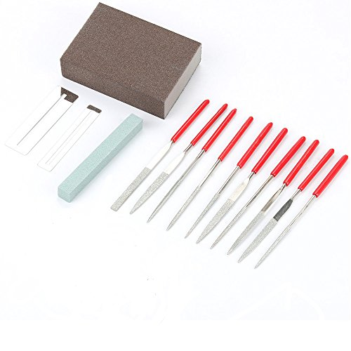 Guitars Repair Kit File Tools - Flat Diamond Grit File Set/Ukelele Bass Grinding Stone/ Fingerboard Protector/Grinding Sponge and Stainless Steel Files Luthier Professional Repair Maintenance - Luthiers Bass Guitar