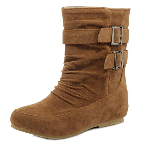 COOLCEPT Damen Mode Pull On Knochel Stiefel Low Height Increasing Brown