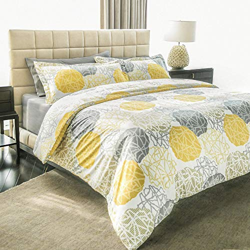 Ashler Bed Sheets Sets - Duvet Yellow&Grey 3 Piece Queen Size - Soft Microfiber Hypoallergenic 1800 Series Deep Pocket Fitted Sheets Wrinkle Fade and Stain Resistant (Cover Duvet Grey And Yellow)