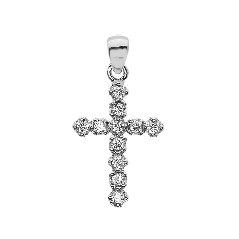 Elegant High Polish Reversible 14k White Gold Diamond Cross Dainty Charm Pendant
