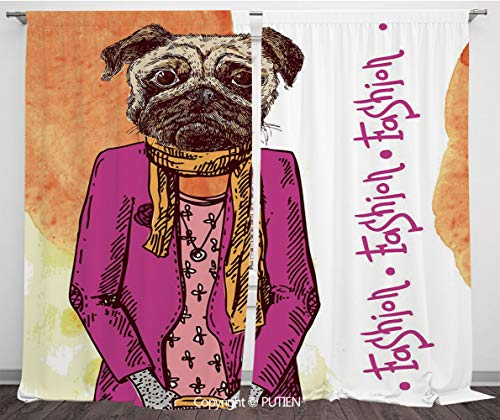 Satin Window Drapes Curtains [ Pug,Fashion Icon Dog with Cool Clothes Scarf Necklace Jacket Handbag Tainted Background,Hot Pink Amber ] Window Curtain Window Drapes for Living Room Bedroom Dorm Room C (Satin Broncos Jacket Denver)