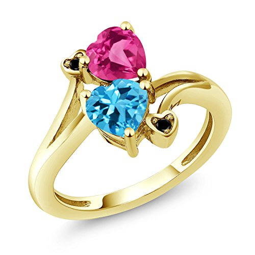 Gem Stone King 1.78 Ct Heart Shape Swiss Blue Topaz Pink Created Sapphire 10K Yellow Gold Ring (Size 9)