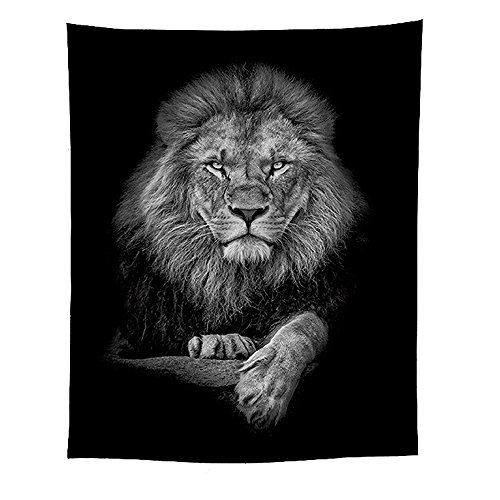 Home Decor Tapestry Mural Photo Background Tapestries Black and White Lion Tapestry