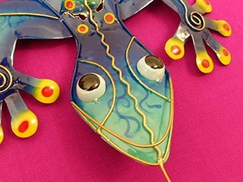 Trendshop-online Gecko Eidechse Salamander Echse Wanddeko Metall Geko Blau /& Bunt 60 cm Gartendeko Blechfigur
