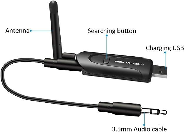 ELEGIANT Transmisor Audio Bluetooth, Receptor Bluetooth 5.0 de Audio con Cable Ataptador USB Inalámbrico con 3,5 MM para Reproductor de Música iPod TV ...