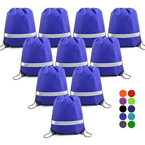 BeeGreen Blue Drawstring Backpack Bags Reflective Bulk Pack, Promotional Sport Gym Sack Cinch Bags (10 Royal Blue) ()