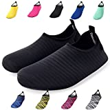 Bridawn Water Shoes for Women and Men, Quick-Dry Socks Barefoot Shoes for Swim Yoga Beach Surf Aqua Sports, Black, M