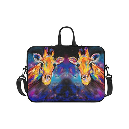InterestPrint Modern Art Giraffe Animal Pastel Painting Waterproof Neoprene 17 17.3 Inch Laptop Sleeve Case Shoulder Bag with Handle & Strap for Dell HP Thinkpad Acer Tablet Woman -