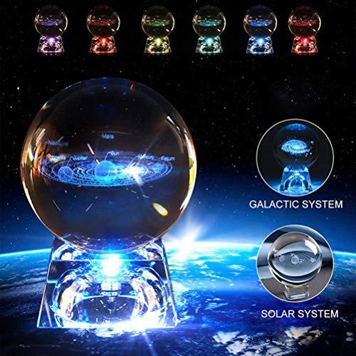 Solar system crystal ball with lighting, home decor glowing crystal ball night light for kids, boyfriend, girlfriend…
