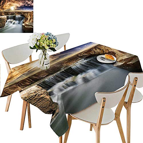 UHOO2018 Square/Rectangle Polyesters Tablecloth A Waterfall on The Edge of a Rock in The Sun Wedding Party,50 x 72inch ()