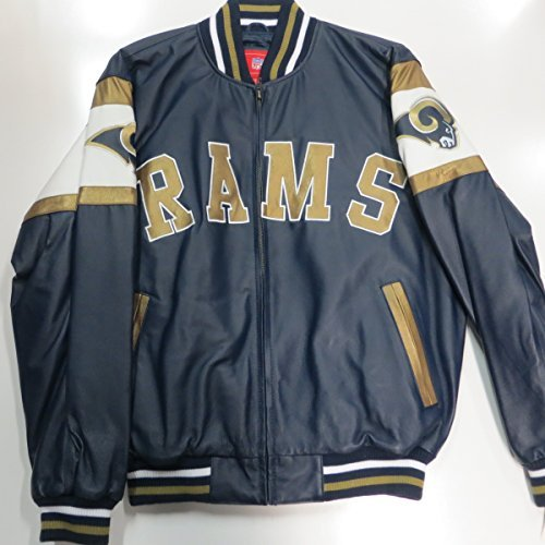 St Louis Rams Mens Medium Leather Embroidered Full Zip Jacket ARAM 40 M by G-III Sports