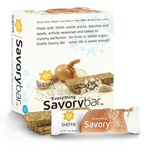 Sheffa Savory Snack bar - Flavor: EVERYTHING But Bagel Seasoning, 1.27 oz (12 Pack) HEALTHY & CRUNCHY | Sugar free | Low Carb Cracker | Vegan | Kosher | Gluten Free | Non GMO | OFFICE PANTRY