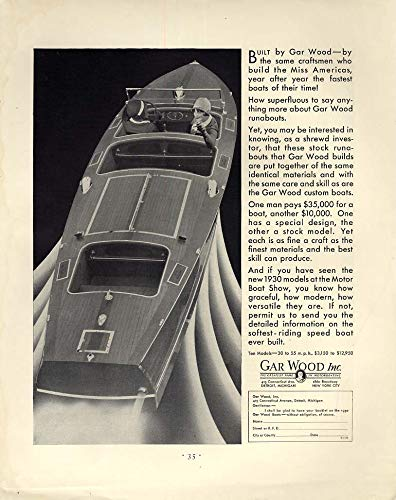 (The same craftsmen who build the Miss Americas - Gar Wood Runabout ad 1930 F)