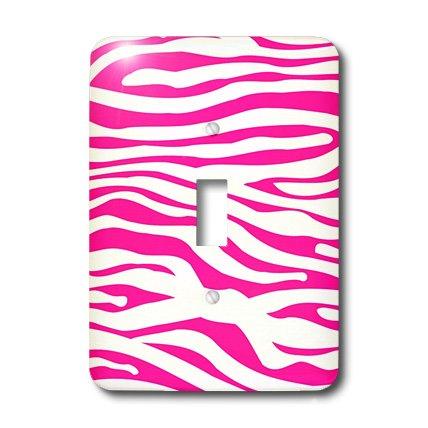 3dRose LLC lsp_113189_1 Hot Pink and White Zebra Print Stylish Girly Animal Stripe Pattern Modern Trendy Fashionable Girl Single Toggle Switch by 3dRose (Image #2)