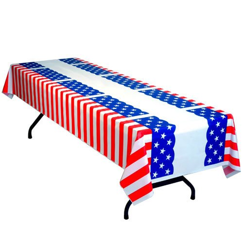 Patriotic Stars and Stripes Heavy Duty Plastic Table Cover Roll 150' x 40''