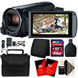 Canon VIXIA HF R800 HD Camcorder (Black) + 64GB Memory Card + Wallet + Reader + 100 Lens Tissue + Case + 3pc Cleaning Kit