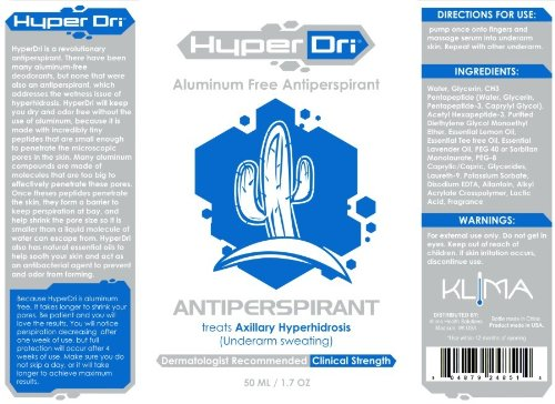 Hyperdri Aluminum Free Antiperspirant - Clinical Strength Deodorant Klima