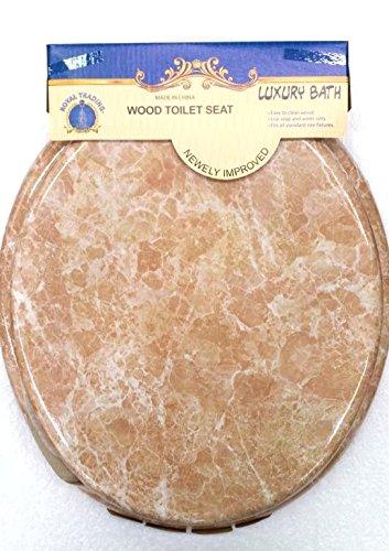 Round Standard Veneer Beige Marble Wood Toilet Seat Closed Front Lid