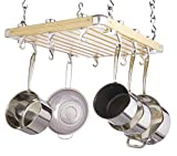 KitchenCraft Master Class Deluxe Ceiling Mounted Wooden Pot Rack 61x51cm, Gift Boxed