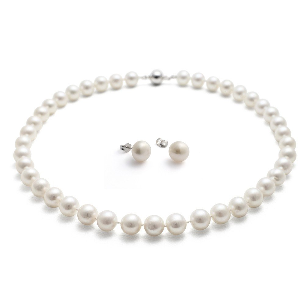Rolicia (Ellena Pearl) AAA 9-10mm 18Inches 45cm Freshwater Cultured White Pearl Necklace for Women & Matching Stud Earring Set Deerlake E-commerce epamazonuk0910