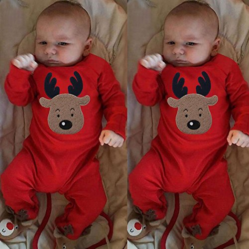 ... Longra Weihnachten Neugeborenes Baby Mädchen Jungen Deer Strampler  Overall Outfit Set Baby Weihnachten Jumpsuit Pyjamas Outfits ...
