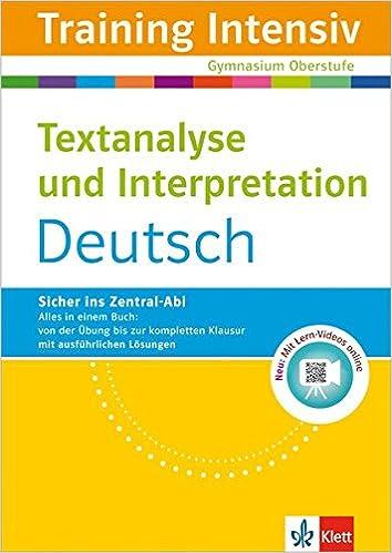 Klett Training Intensiv Textanalyse Und Interpretation Deutsch Für