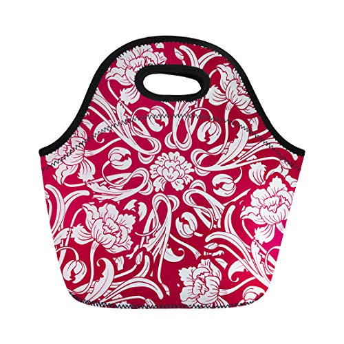 (Semtomn Neoprene Lunch Tote Bag Chinese Red Flowers in Oriental Floral Porcelain Antique Asian Reusable Cooler Bags Insulated Thermal Picnic Handbag for Travel,School,Outdoors,Work)