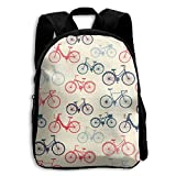 Jiaozhudf74 Vintage Bicycles College School Student Bookbag For Men&Women,Travel Outdoor Hiking&Camping Rucksack