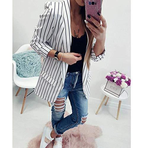 Ufficio Cappotto Classiche Mode Bianca Marca Primaverile Slim Moda Autunno Giacca Lunga Eleganti Donna Da Tailleur Stripe Business Manica Di Blazer Fit Vintage Outwear xwgCfAgXq