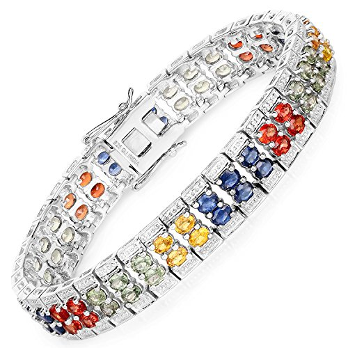 925 Sterling Silver Bracelet 16.72 ct Green Sapphire Oval Gemstone 7.75 inches (Watch Bracelet Sapphire Ladies Diamond)