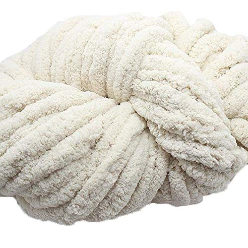 Chunky Chenille Knitting Yarn,Chunky Chenille Yarn for Arm Knitting Blanket Hat Scarf,Rice White Chunky Blanket Yarn,Hand Knitting Yarn,250g/8 oz