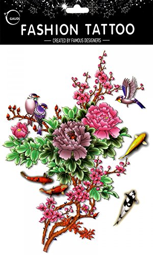 GGSELL GGSELL waterproof and non toxic temporary tattoos Large design poney,sparrows and fishes temporary tattoos women for chest,belly,back,leg,etc.