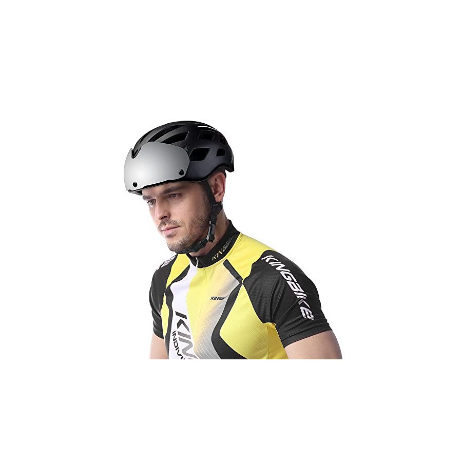 KINGBIKE DOT Bicycle Helmet Detachable Eye Shield Goggles(100% UV400 Protection,Can Over The Glasses) + Helmet Backpack Men Women,3 Modes Rear Safety LED Light,26 Air Vents