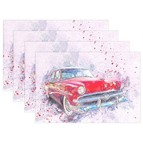 589 Dining Set - DNOVING Car Old Car Art Abstract Watercolor Vintage Auto Placemats Set Of 4 Heat Insulation Stain Resistant For Dining Table Durable Non-slip Kitchen Table Place Mats