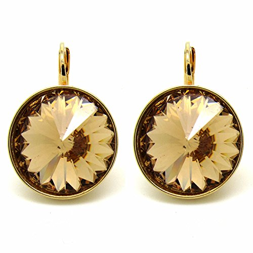 CP Large Bella Light Colorado Topaz Gold- Plated Earrings Made with Swarovski Crystals