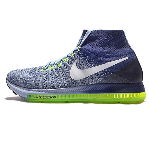 Nike Frauen Zoom All Out Flyknit Laufschuhe Bluecap / Weiß-tiefes Königsblau