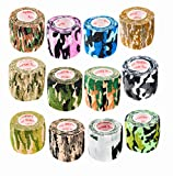 2 Inch Vet Wrap Tape Self Adhesive Medical Bandage Free Bonus Rolls (Assorted Camo) (10 Pack Plus 2 Free Rolls) Self Adherent Cohesive First Aid Sport Flex Wrist Ankle Knee Sprains and Swelling
