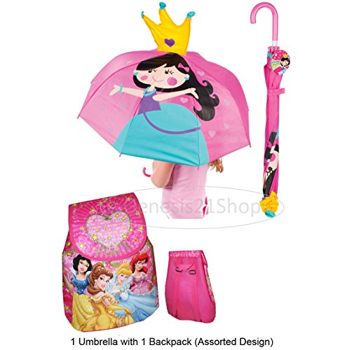 Princess Umbrella and Pink School Backpack - 2 pc Gift Set for (Barbie Rolling Backpack)
